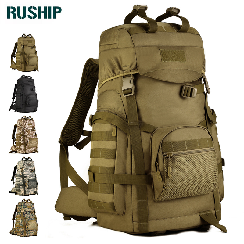 Military Backpack Waterproof Nylon Bag Multi-function Camouflage Pack 60L Rucksack Tactics Bag Molle System Back metal bracket
