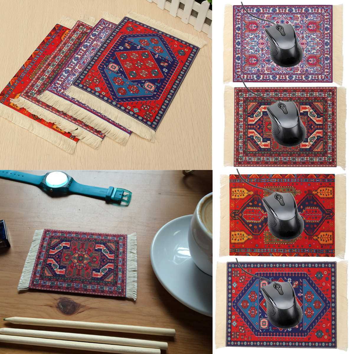 27x18cm Persian Mini Woven Rug Mat Mousepad Retro Style Carpet Pattern Cup Mouse Pad With Fringe Home Office Table Decor Craft