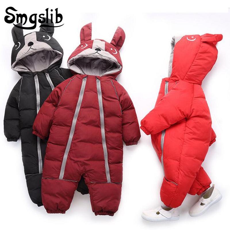 Baby winter clothes dog animal print Thick Warm toddler boy girl romper Hooded Jumpsuit children snowsuit down Kids clothing new 2018 baby winter clothes cotton thick warm hooded baby jumpsuit newborn baby boy girl romper children snowsuit down clothing