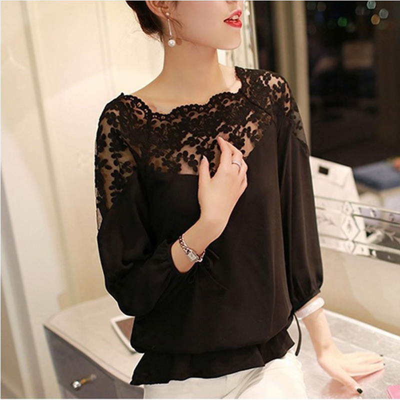 Womens Lace Tops And Blouses Fashion Summer Korean Ladies Long Sleeve Shirt Casual Vintage White Elegant Clothes 2019 Plus Size
