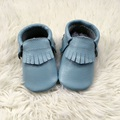 Handmade Baby Blue Genuine Leather Baby Shoe Infant Moccasins