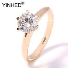 Yinhed 100% Оригинальные 18krgp золотые обручальные кольца для