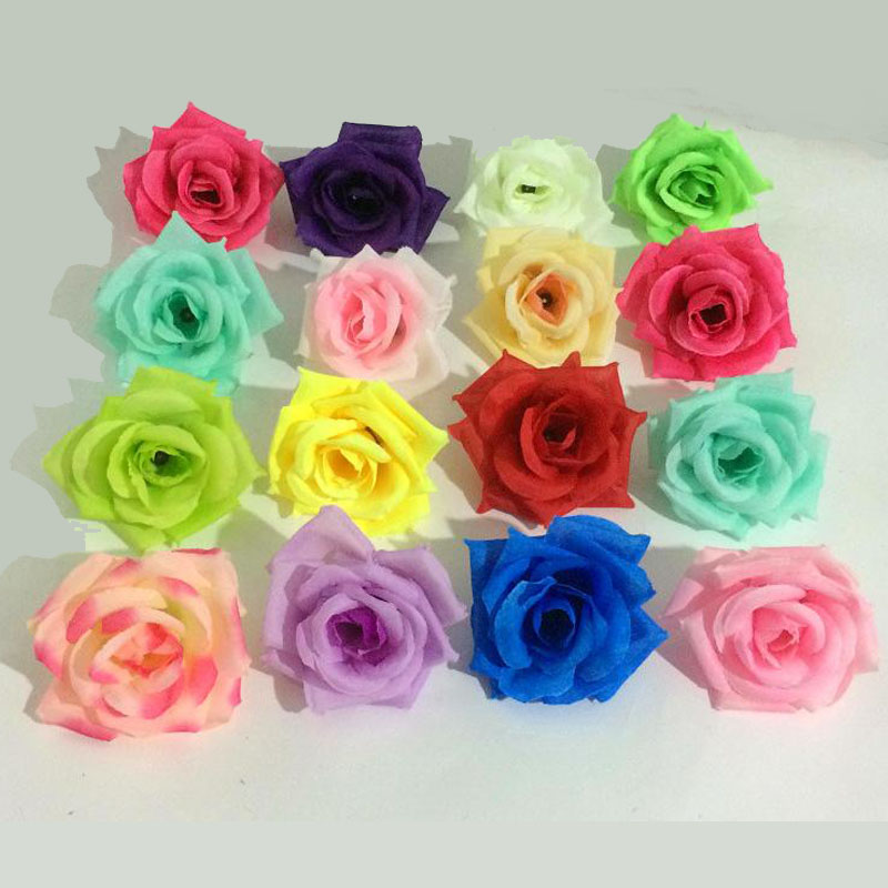 2016 Silk Rose Flower Heads 100pcs Fake Flowers Dia 8cm DIY Bridal ...