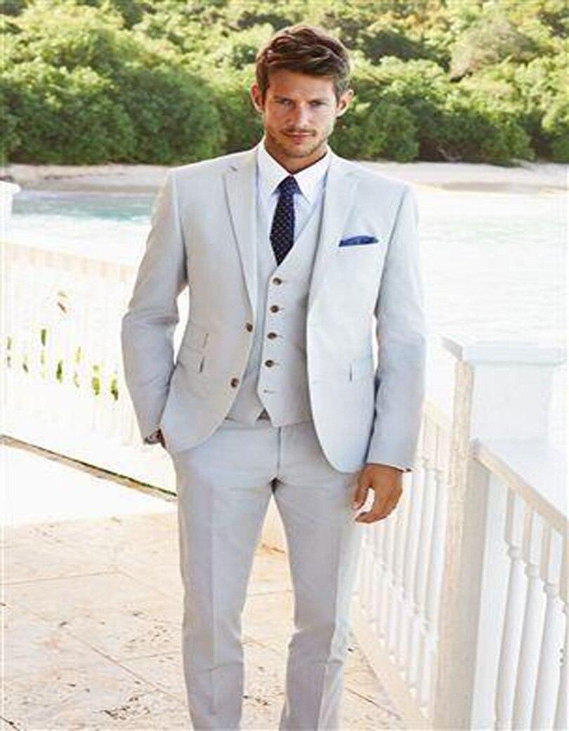 Les derniers hommes appliquent de haute qualité mode marié smoking slim blanc costume pour mariage gap revers trois pièces groomsman costume
