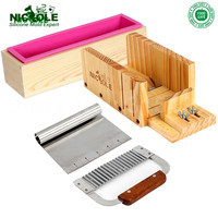 Adjustable Wooden Loaf Soap Cutter Hardwood Handle Stainless Crinkle Cutter Rolling Handle 6 Inch Tick Mark