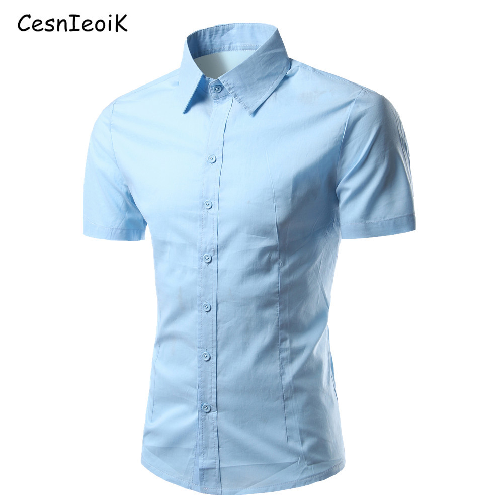 New 2016 Summer Fashion Mens Shirt Casual Slim Fit Shirt