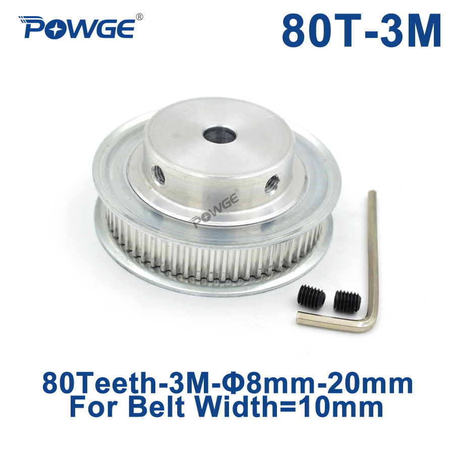 POWGE Arc Tooth 80 Teeth 3M Synchronous Pulley Bore 8/10/12/15/20/25mm for Width 10mm HTD3M Timing belt gear Wheel 80Teeth 80T все цены