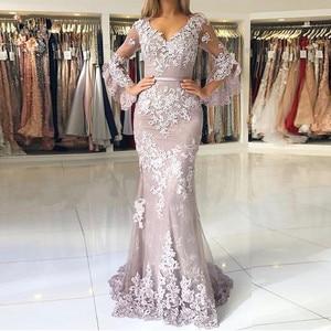 Image 1 - Vestidos de fiesta de noche Pink Muslim Mermaid Evening Dresses 2020 Lace applique Elegant Long платья знаменитостей