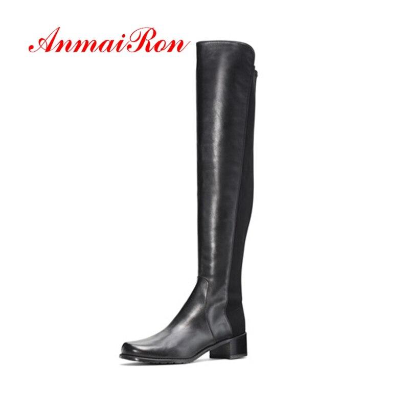 Hautes Talons b Femme Bottes Hiver Black De Le Taille 39 Anmairon Sur Mode Épais Chaussures Cr1716 Femmes 34 Rond Bout nIqSaHwxw