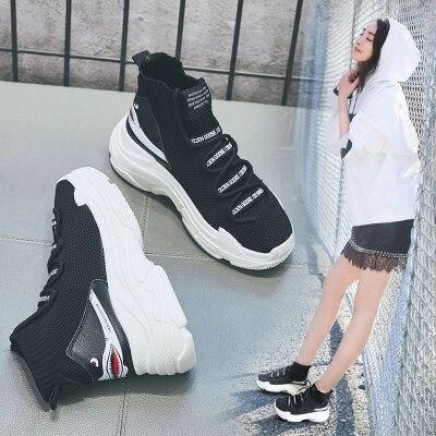 Coreana Grueso Nuevo Stretch Salvaje De Zapatos Hip 1 Marea Hop La Mujeres Super Fuego Versión Las 1 2019 Calcetines Alta 2 Primavera Fondo Zapatos Viejo qqrZ86x7
