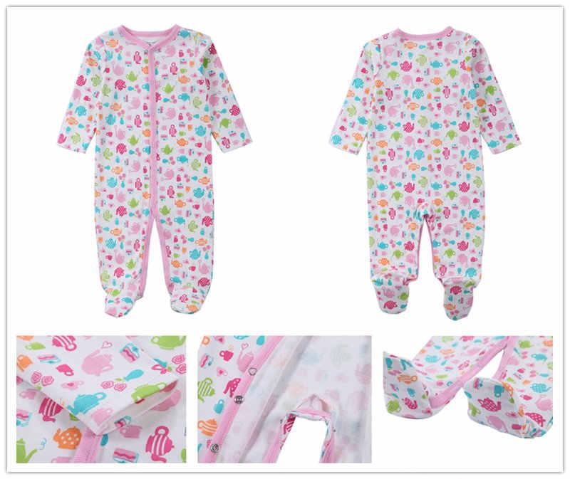 3 حزمة المولود الجديد الفتيات ملابس الأولاد الرضع فوتي طويلة الأكمام 100% القطن الطباعة الرضع الملابس 0-12 أشهر