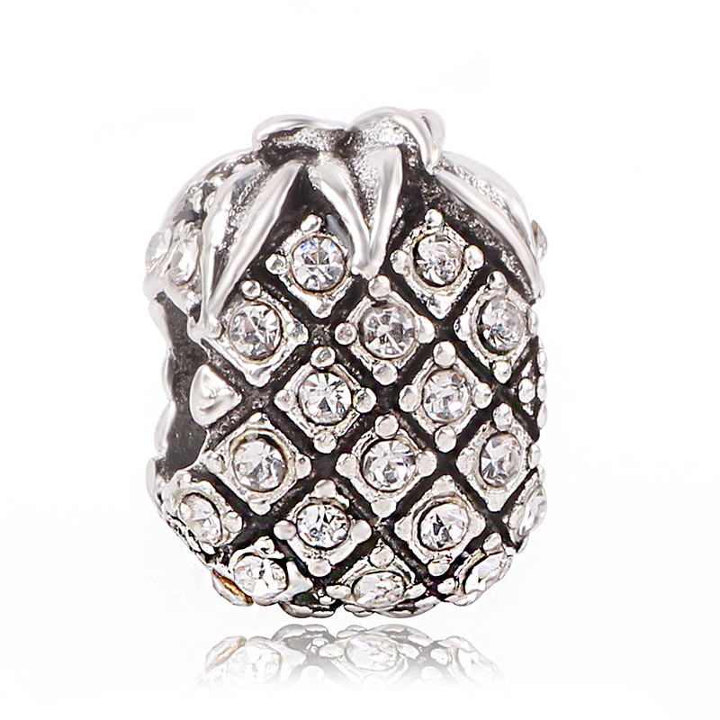 Couqcy 1pc Silver White Crystal Pineapple Bead Charms Fits European Pandora Charm Bracelets For Women Gift