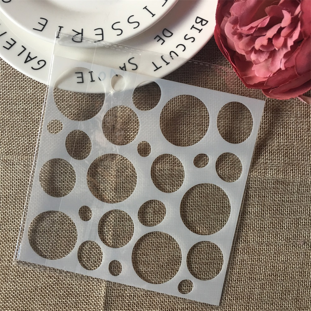 1Pcs 15cm Bubble Round Circle DIY Layering Stencils Wall Painting Scrapbook Coloring Embossing Album Decorative Card Template