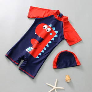 2019 Summer Baby Boys Girls Hooded Swimwear+Cap Outfit Dinosaur Swimming Infant Toddler Kids Chidren Surfer Beach Clothing P35(China)