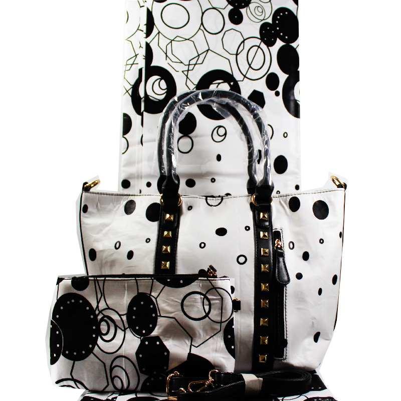 Haute qualité africain cire sac ensembles nouveauté populaire femme sac à main et 6 Yards africain Ankara cire coton tissus 3 pièces/ensemble