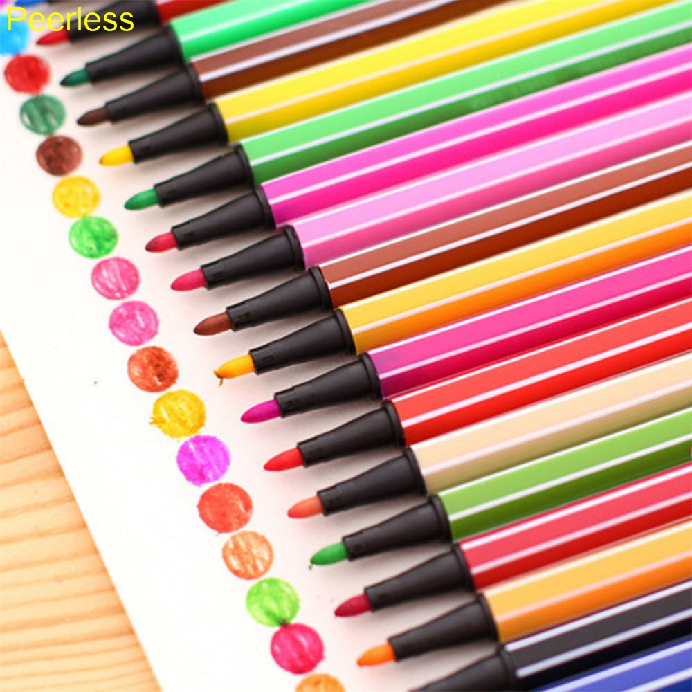 Office & School Supplies Art Markers Peerless 12/18/24/36 Colors/ Lot Water Color Pen Brush Marker Highlighter For Kids Stationery Markers Art Supplies Relieving Heat And Thirst.