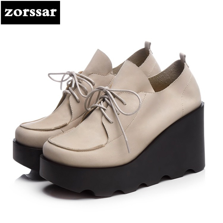 {Zorssar} 2018 fashion Genuine Leather womens Creepers shoes Platform heels Lace-up Wedges High heels pumps ladies casual shoes bling patent leather oxfords 2017 wedges gold silver platform shoes woman casual creepers pink high heels high quality hds59