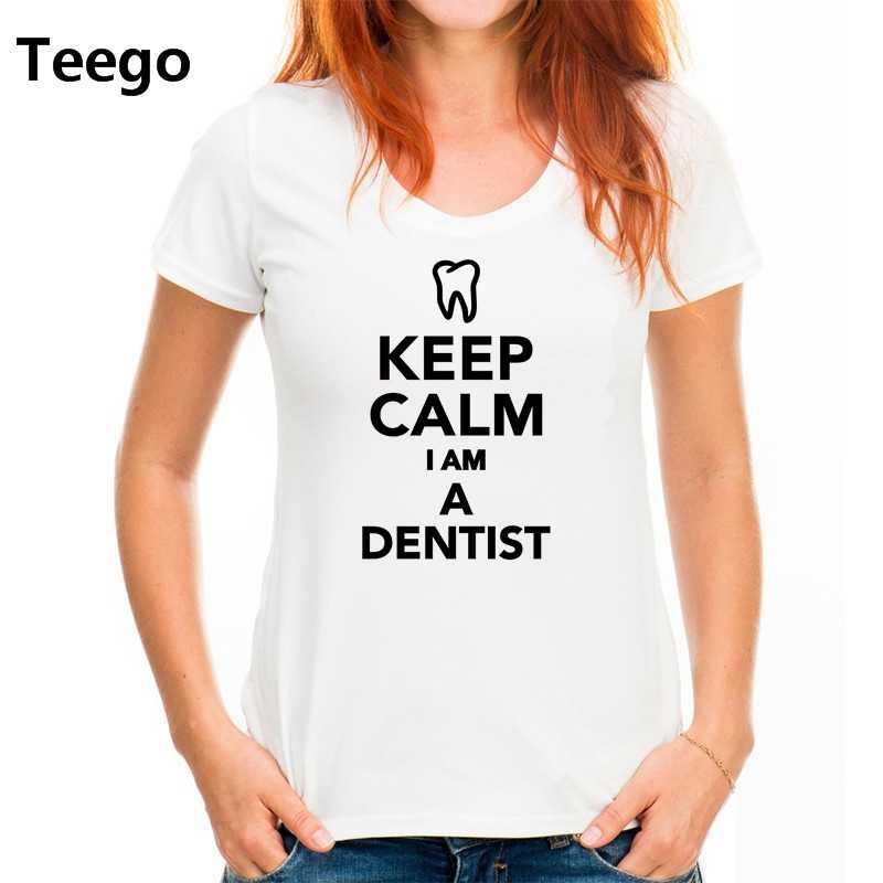 Houd Kalm IK ben EEN Tandarts vrouwen T shirt Korte Mouw vrouwen Casual Tees voor vrouwen