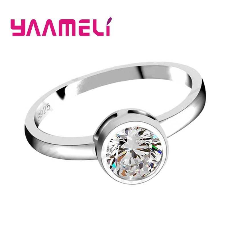 โปรโมชั่นแฟชั่นรอบคริสตัลหมั้น 925 เงินสเตอร์ลิงแหวนเงินผู้หญิงแหวนแหวนเครื่องประดับ