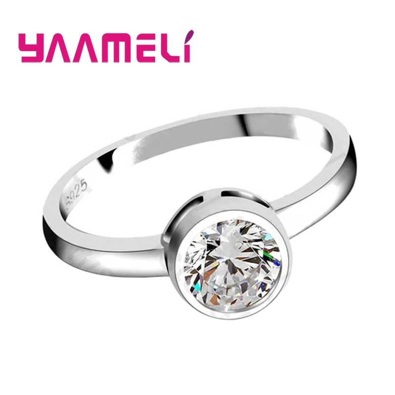 Promotion Fashion Round Crystal Wedding Engagement 925 Sterling Silver Rings For Women Anniversary Finger Ring Jewelry