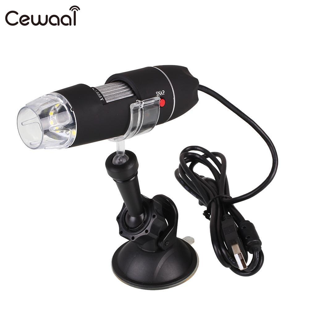 Cewaal portátil USB profesional 40X 1000X HD microscopio 8 LED eléctrico handheld microscopio cámara de succión regalo