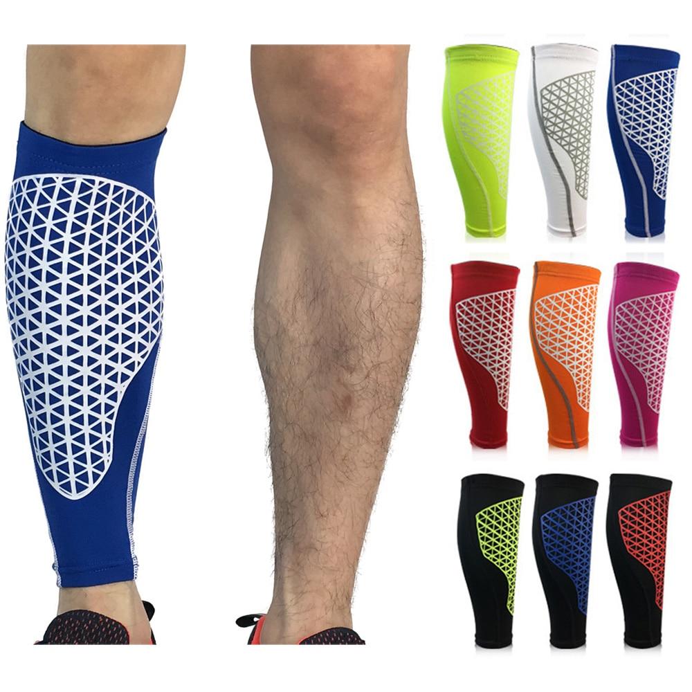 Sports Calf Leg Sleeve Grid Pattern Outdoor Football Basketball Protective Gear SPSLF0044