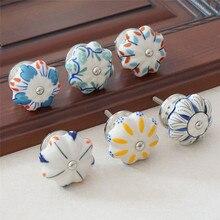 Ceramic Knobs Dresser Knob Colorful Flower Cabinet Pulls / Unique Kitchen Door Handle Furniture Hardware