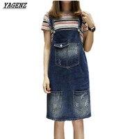 YAGENZ 5XL Summer Large Size Denim Dress Lady 2017 Loose blue Adjustable Belt Denim Strap Women Dress Casual Jeans Overalls