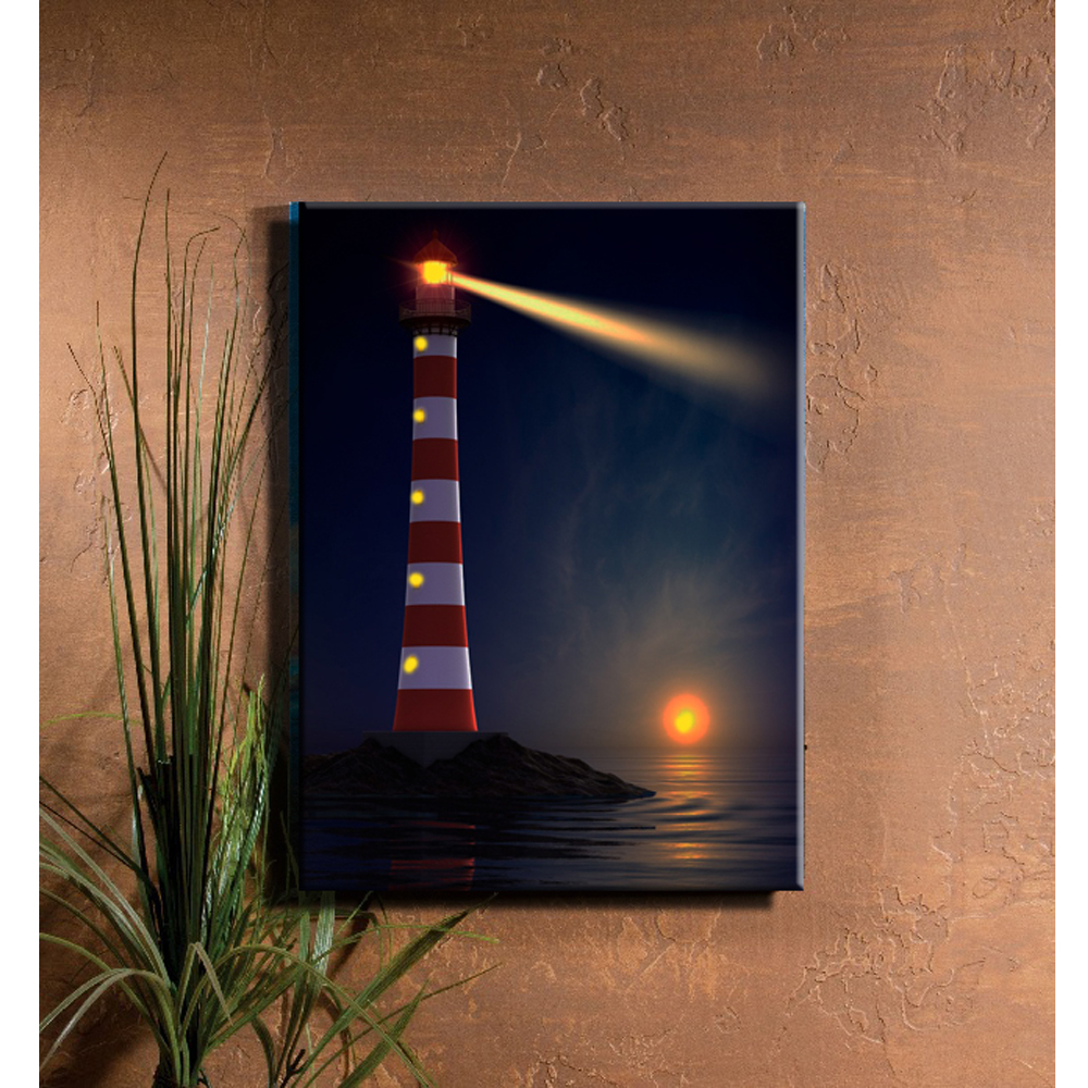 Lighted Lighthouse Coastal illuminate sunset seascape view