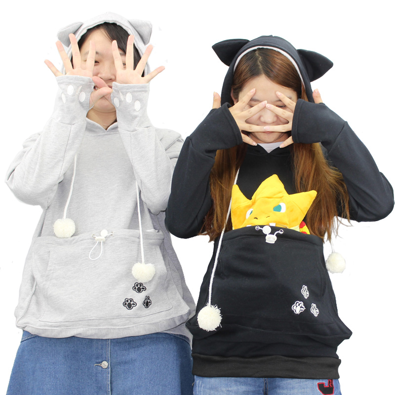 Mode Chat Câlin Pochette Mewgaroo Nyangaroo Chien Hoodies décontracté Kangourou sweat-Shirts À Capuche