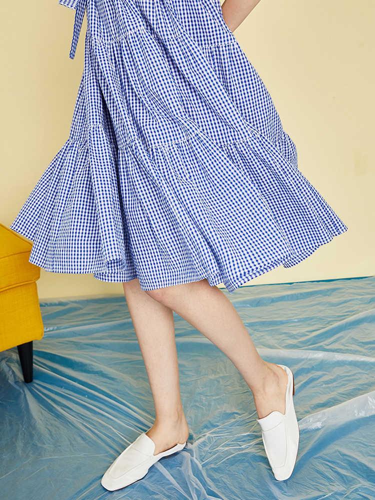 Toyouth леди плед с поясом флиппи Подол Макси платье женское повседневное хлопковое с высокой талией с коротким рукавом летнее платье