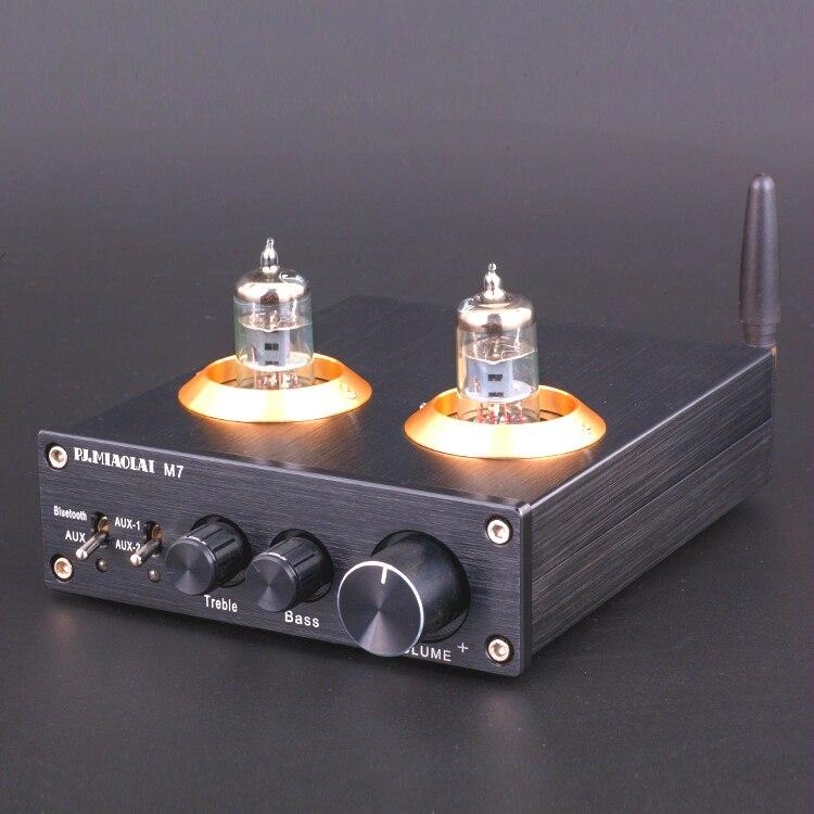 M7 Bluetooth 4.0 HiFi Vide 6J1 Tube Amplificateur Stéréo Tube Préamplificateur Avec Aigus Basse Contrôle De Tonalité