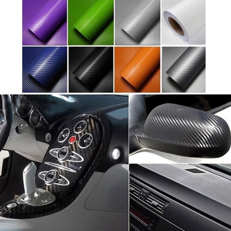 Vehemo 30cmx127cm 3D углеродного волокна Виниловые наклейки автомобиля Wrap лист рулонная пленка прочный автомобиль наклейки стайлинга автомобилей аксессуары