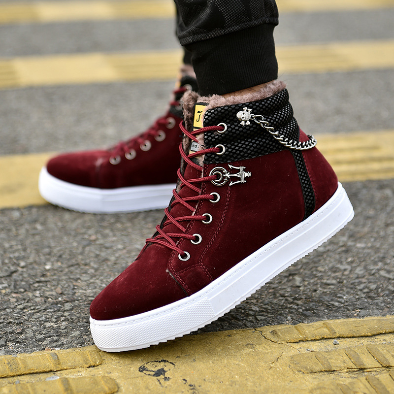 Excellent Quality Warm Winter Men Shoes High Top Canvas Casual Shoes Men Boots Autumn Leather Sneakers Metal Chain Male Flats