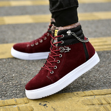 Men Boots Shoes Sneakers Canvas High-Top Male Autumn Warm Chain Winter Flats Excellent-Quality
