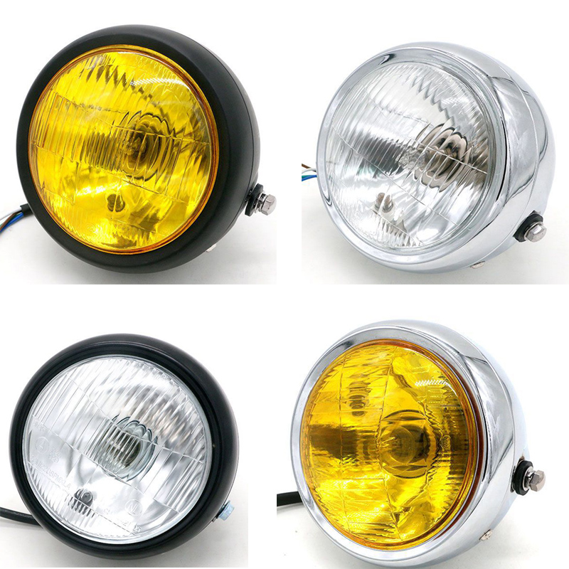 DC 12V Motorcycle Refit Headlight Vintage Round Motorcycle Head Light Scooter Motorbike Motor Front Headlights Lamp Universal