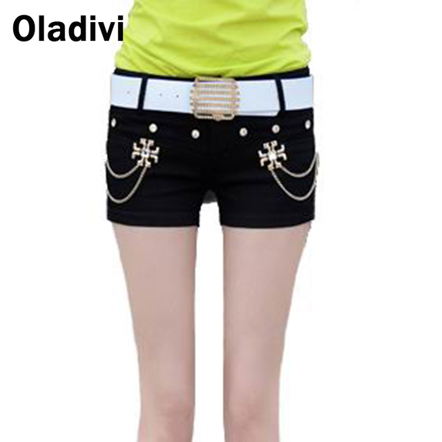 Hiphop Style Summer White Black Shorts 2016 New Arrival Metal Chain Zip Skinny Mini Trousers Sexy Ladies Short Trourers S M L