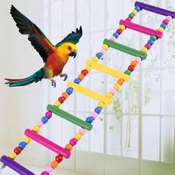 Качели деревянные мост лестница с красочными Пластик шары подняться птица Лестницы Попугай Фогель Speelgoed попугай игрушки клетка аксессуары