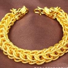 Мужской толстый браслет с рисунком дракона желтое золото сетчатая