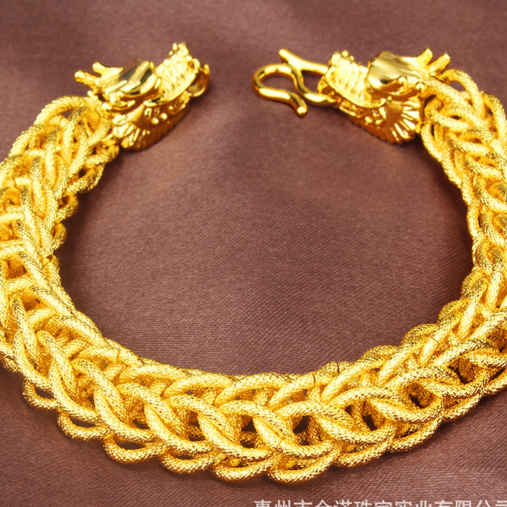 Dragon Patterned Thick Bracelet Yellow Gold Filled Mens Mesh Chain Vintage Hp Calculator Modules Circuit Board Traces For Scrap Hip Hop Style