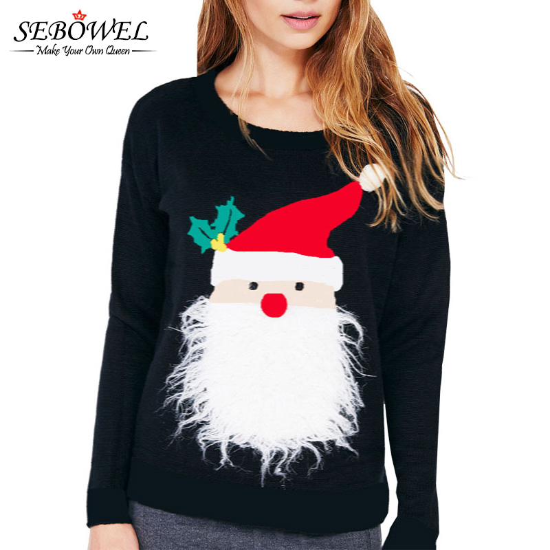 SEBOWEL Women Long Sleeve Christmas Sweater O Neck Tops Santa Claus Slim Pullover Sweater Winter Slimming