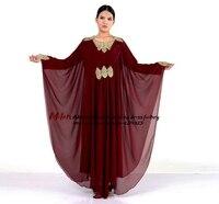Moroccan kaftan 2018 new chiffon A Line burgundy arabic Dubai evening gowns dresses long plus size cheap Muslim prom dress