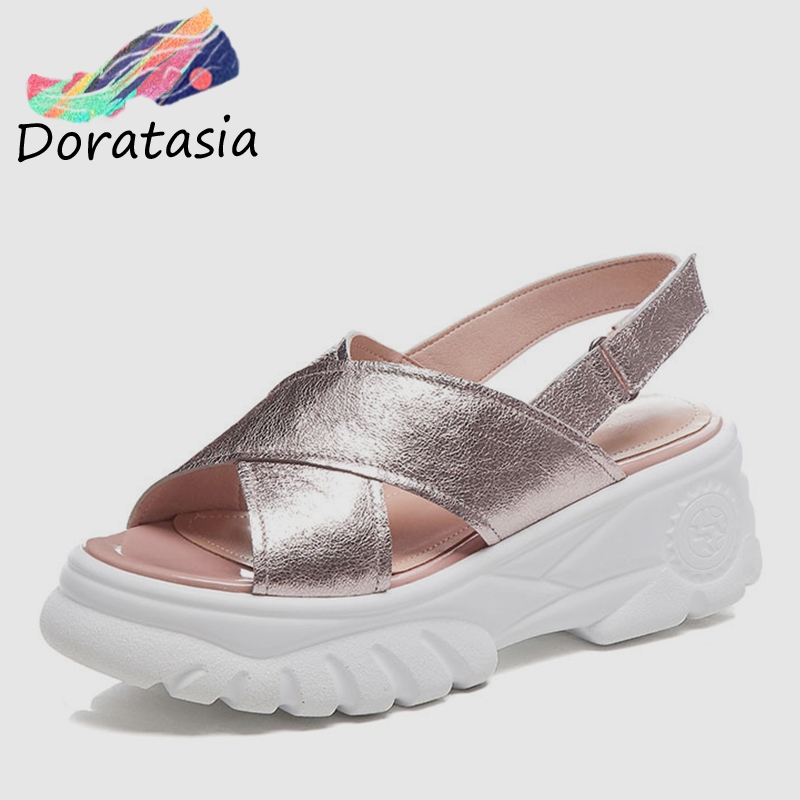 DORATASIA Brand New Big Size 34 42 Genuine Leather Ladies High Heels Platform Shoes Woman Casual