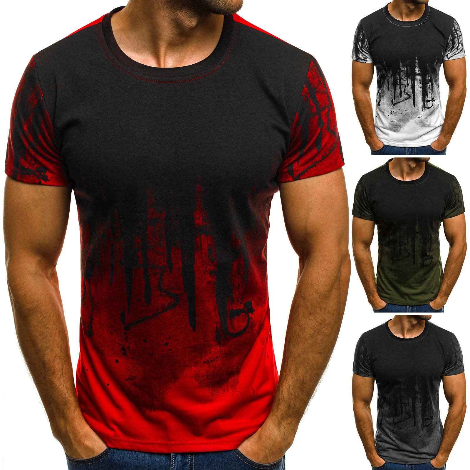 E-BAIHUI Men Fitness Compression T-Shirt Casual Cotton Black And Red Gradient High Quality Slim Shirt Men Fashion Tee Tops CG002