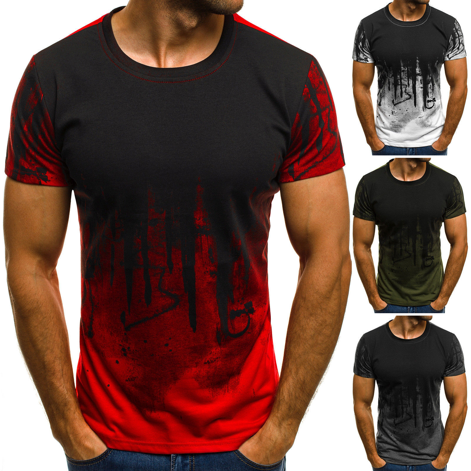 E-BAIHUI Men Fitness Compression   T  -  Shirt   Casual cotton Black and red gradient High quality Slim   shirt   Men Fashion Tee tops CG002