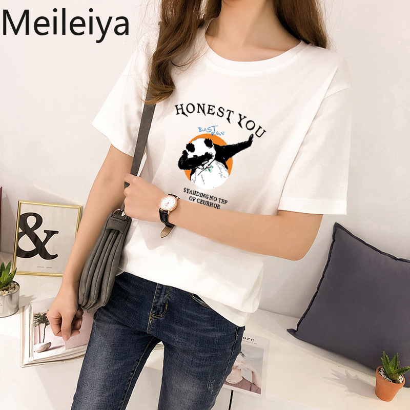 Hip Hop Panda Print White Short Sleeve T shirt Woman Tshirt Loose O Neck Tops Graphic Tees Women Plus Size in T Shirts from Women 39 s Clothing