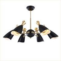 Luxury Design Living Room Modern Pendant Lights Black White Iron Lamp Shades DIY Adjustment Angle For