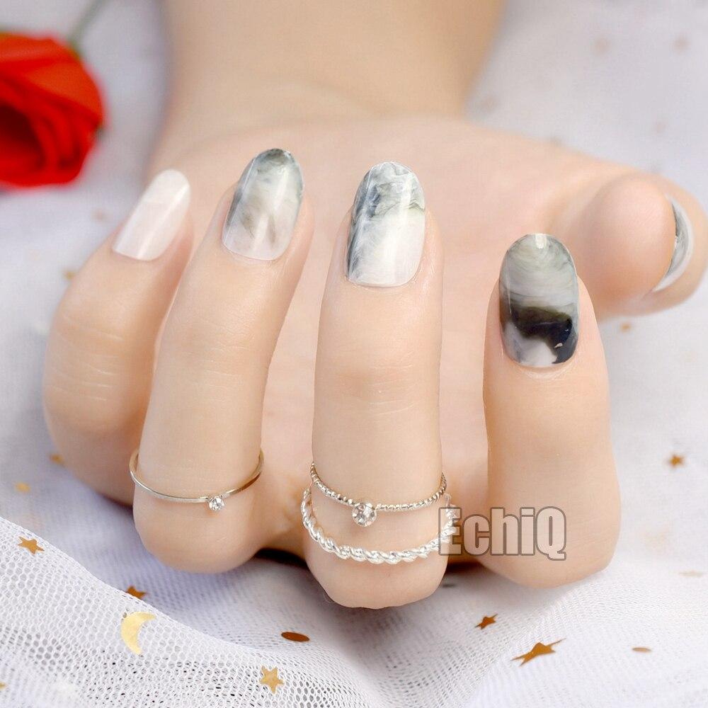 Short Marble Gray Fake Nails Full Cover Oval Press On 24 Nail Tips ...