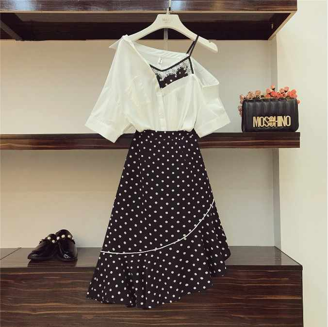 f1368608b0 2019 New Fashion Summer Women's Sling Irregular Shirt + High Waist Polka  Dot Fishtail Skirt Two