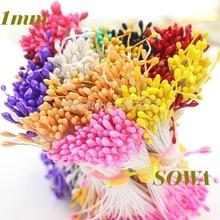 1 мм, 420 шт./лот, случайные смешанные двойные головки, искусственные мини-жемчужные цветы, тычинки для украшения свадьбы, сделай сам